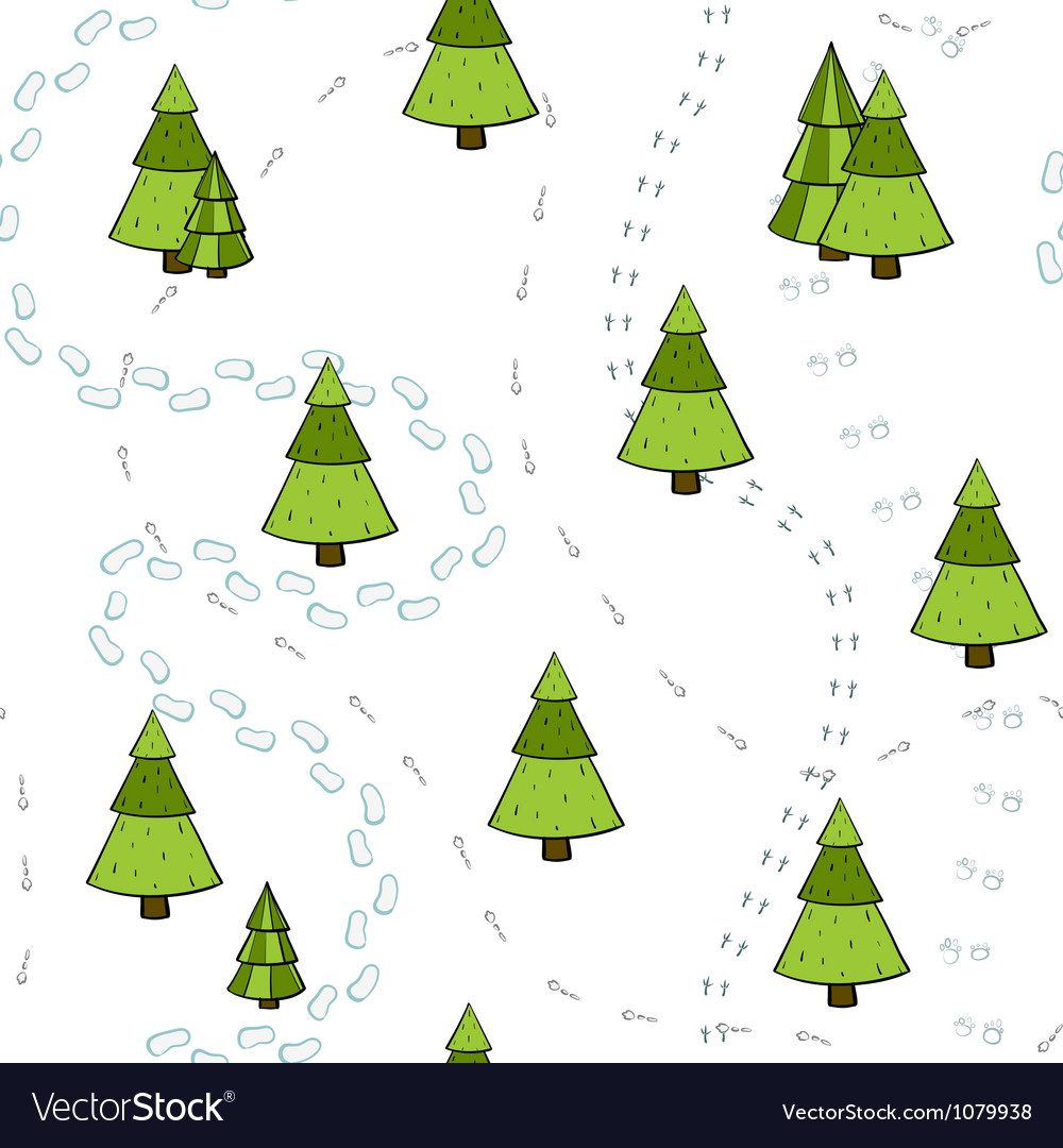 Christmas Trees and Tracks Seamless Pattern