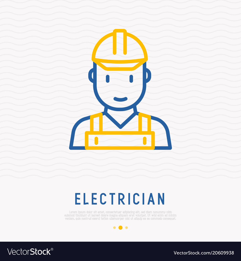 Electrician thin line icon