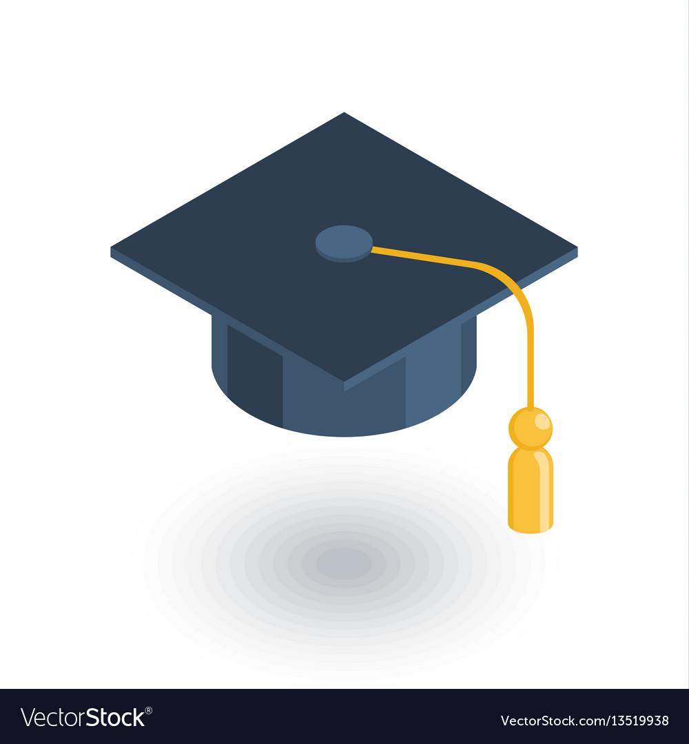 Graduation hat isometric flat icon 3d vector image