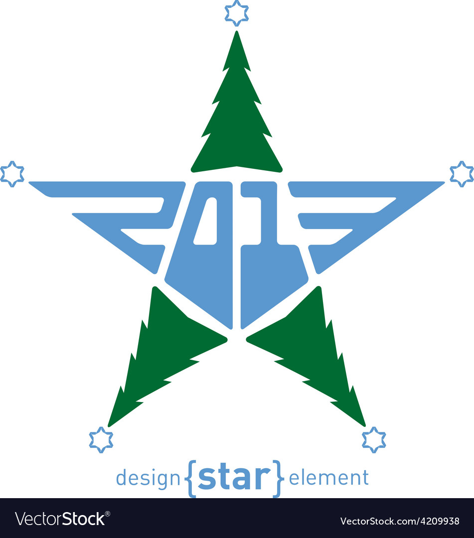 Merry Christmas star with green pine and David Vector Image