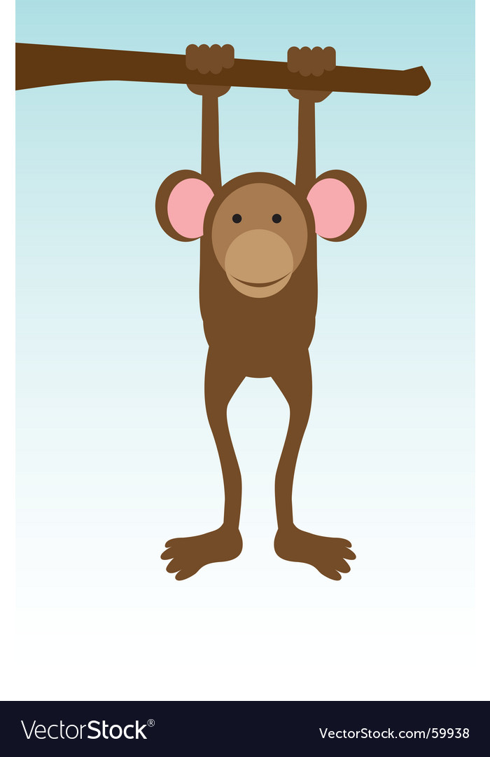 Monkey hanging on tree vector image
