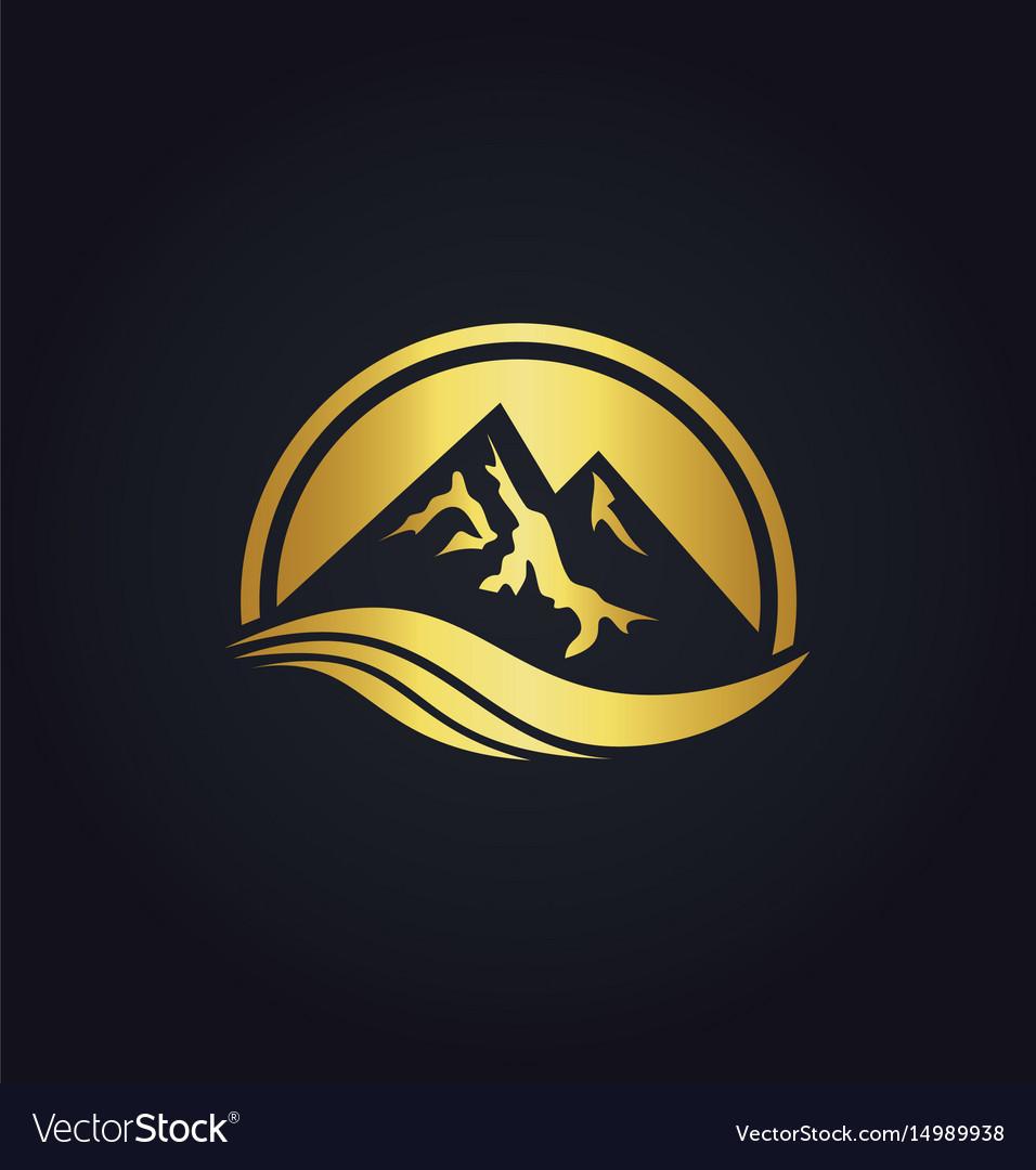Mountain icon gold logo