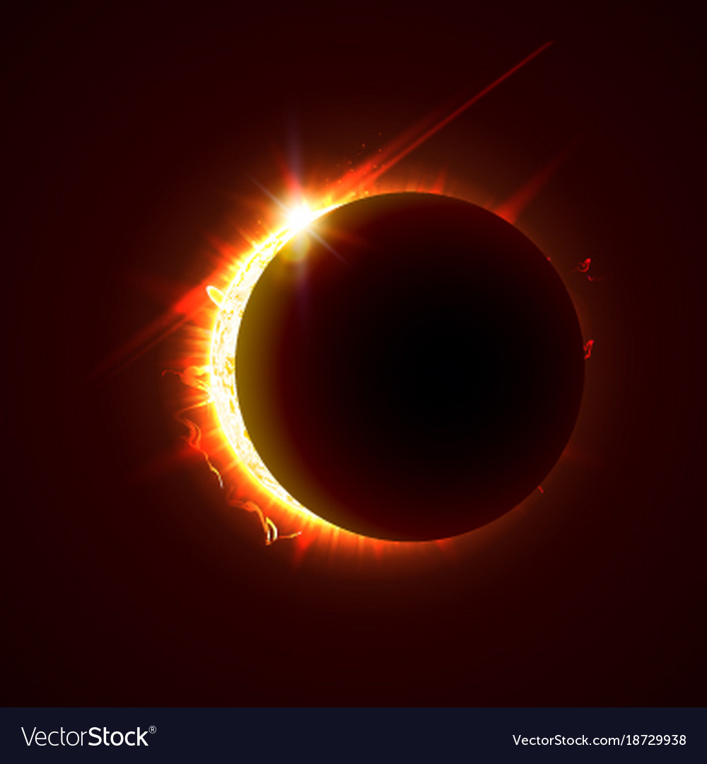 New sun eclipse 3d bright vector image