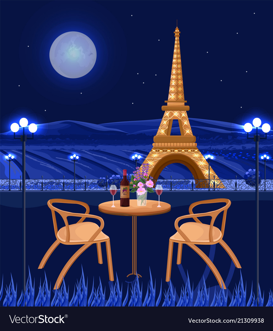 Romantic cafe with eiffel tower view paris at