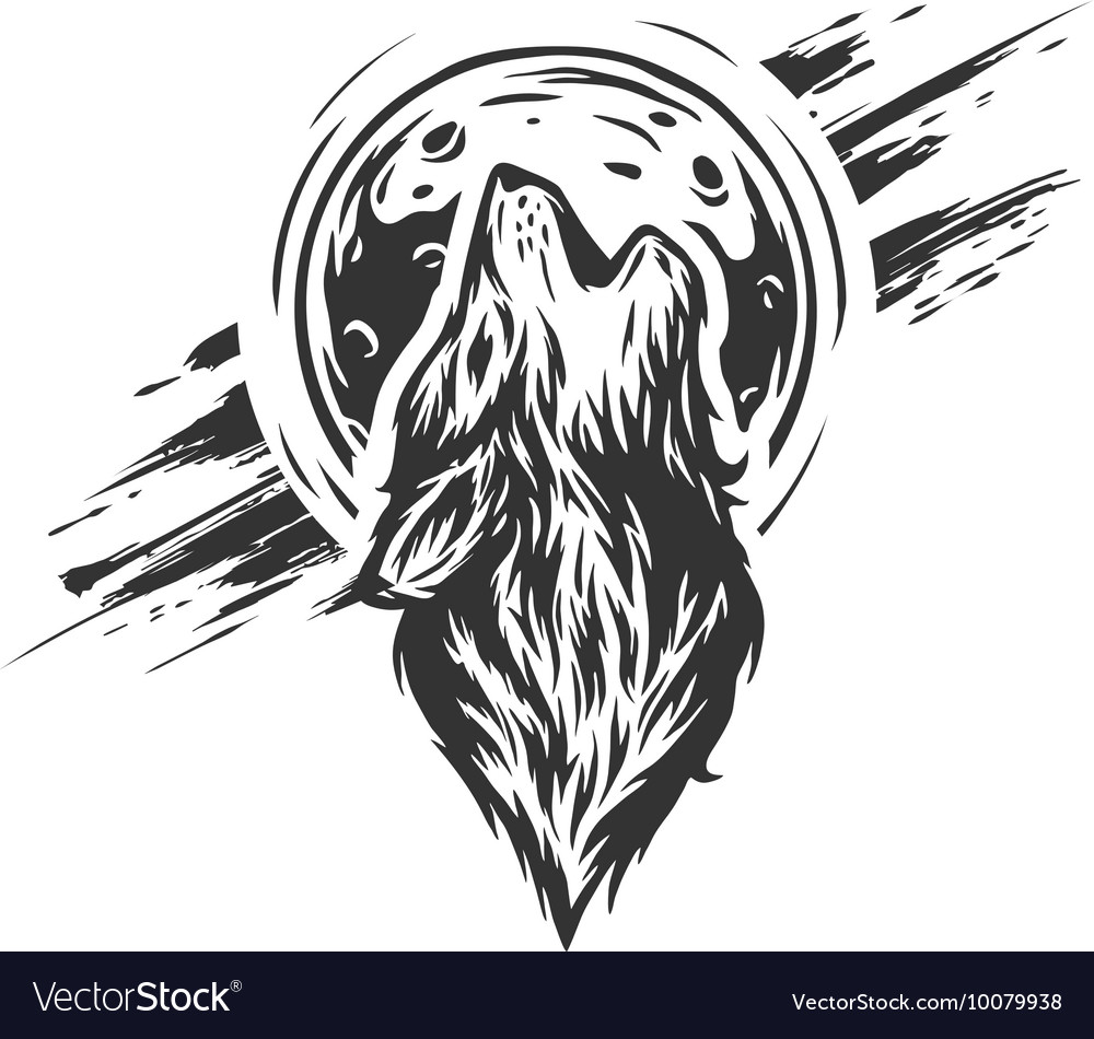 The wolf on the moon background vector image