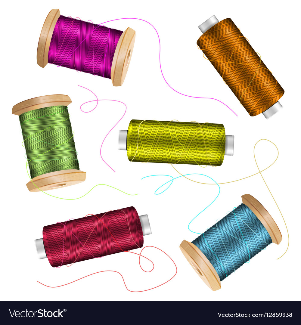 Thread Spool Set Background For Needlework And