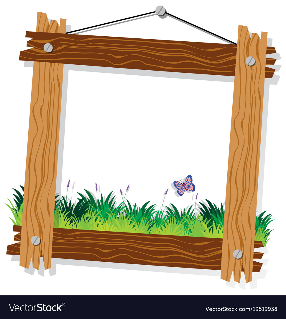 wooden frame template with green grass and vector image vectorstock