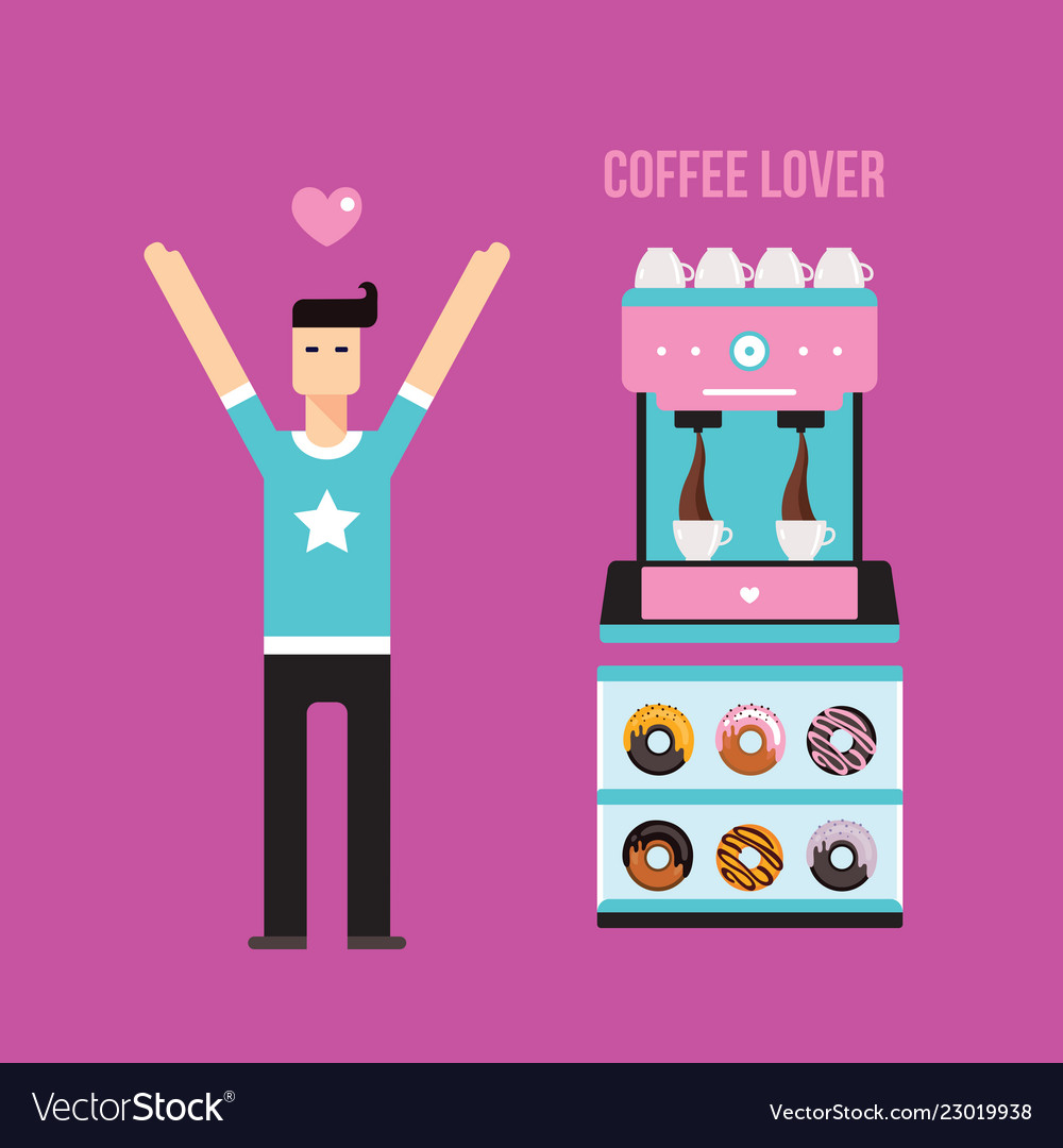 Young happy man coffee machine and donuts