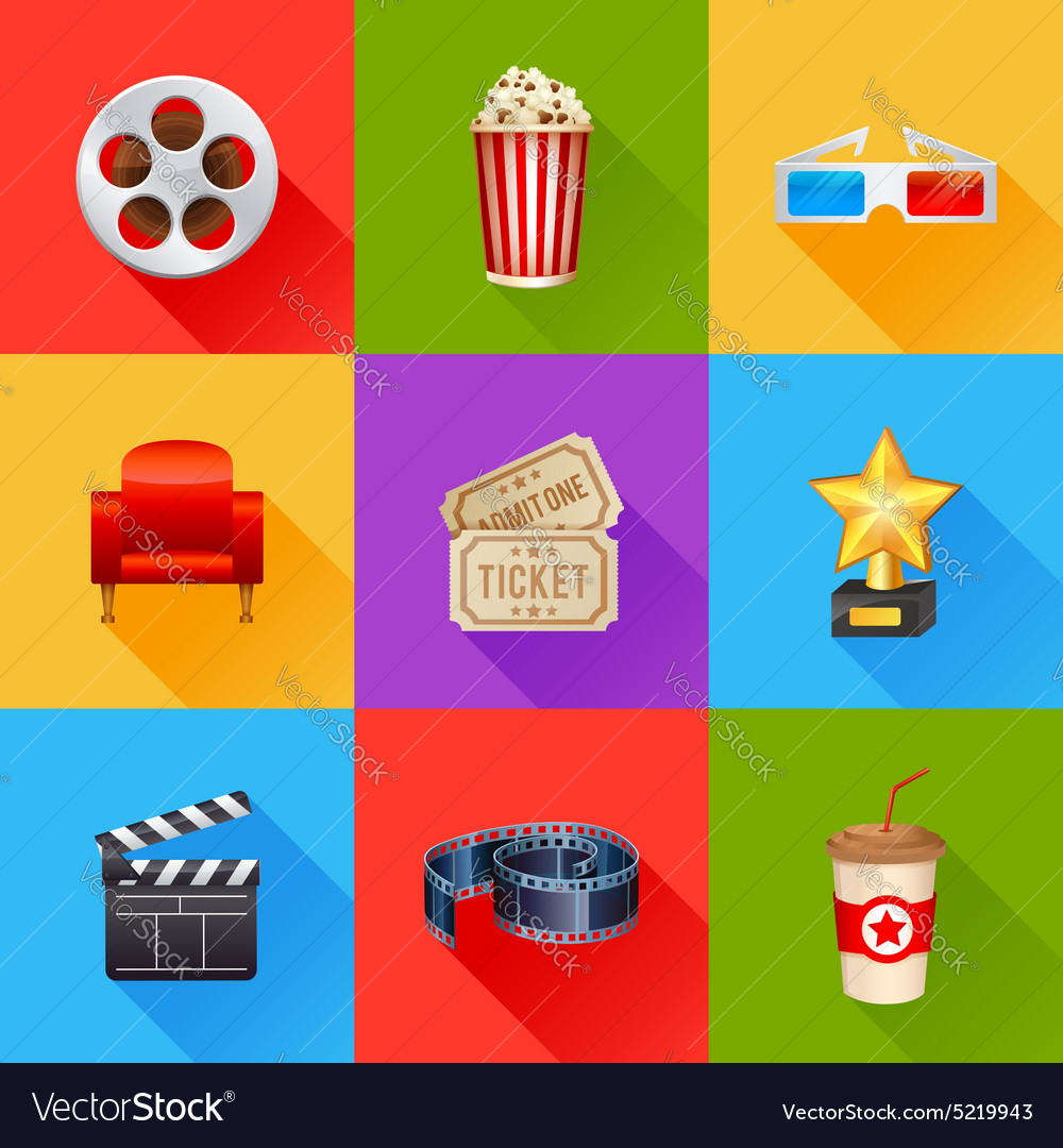 A detailed set of realistic cinema icons
