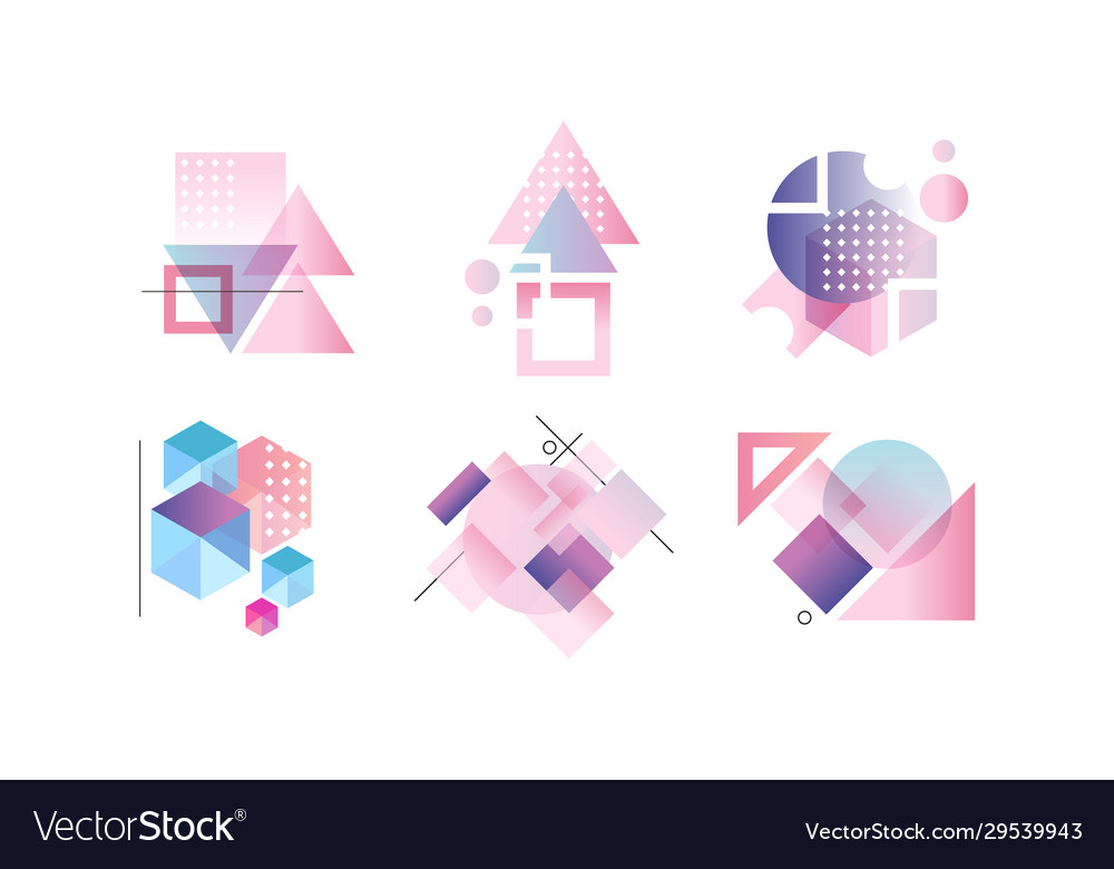 Abstract badges various geometric shapes in
