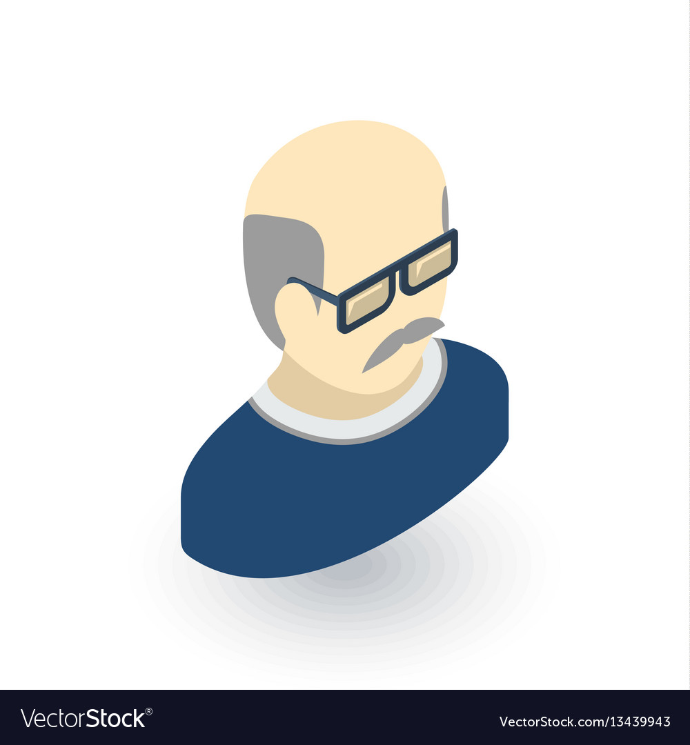 Avatar father adult man isometric flat icon 3d