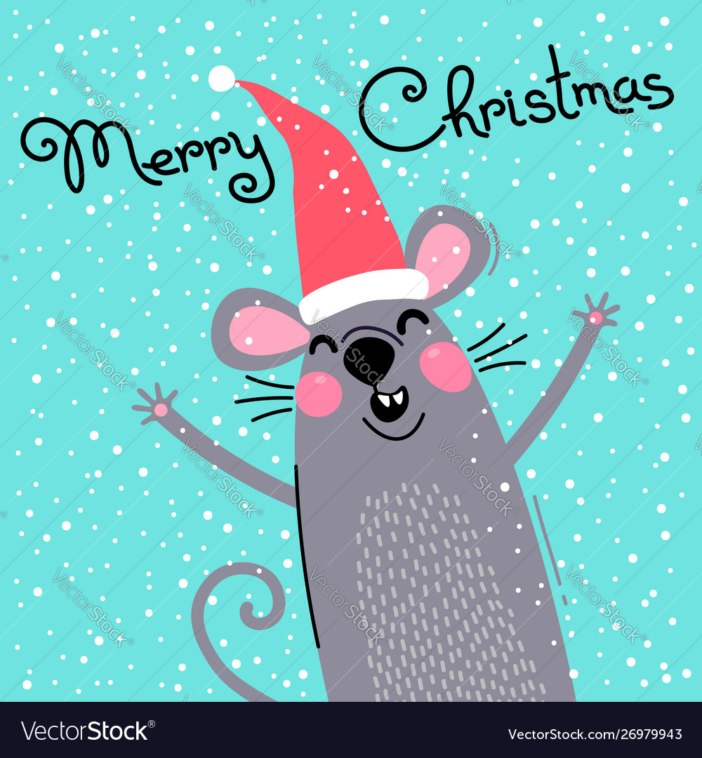 Cute gray rat in santas hat wishes merry christmas