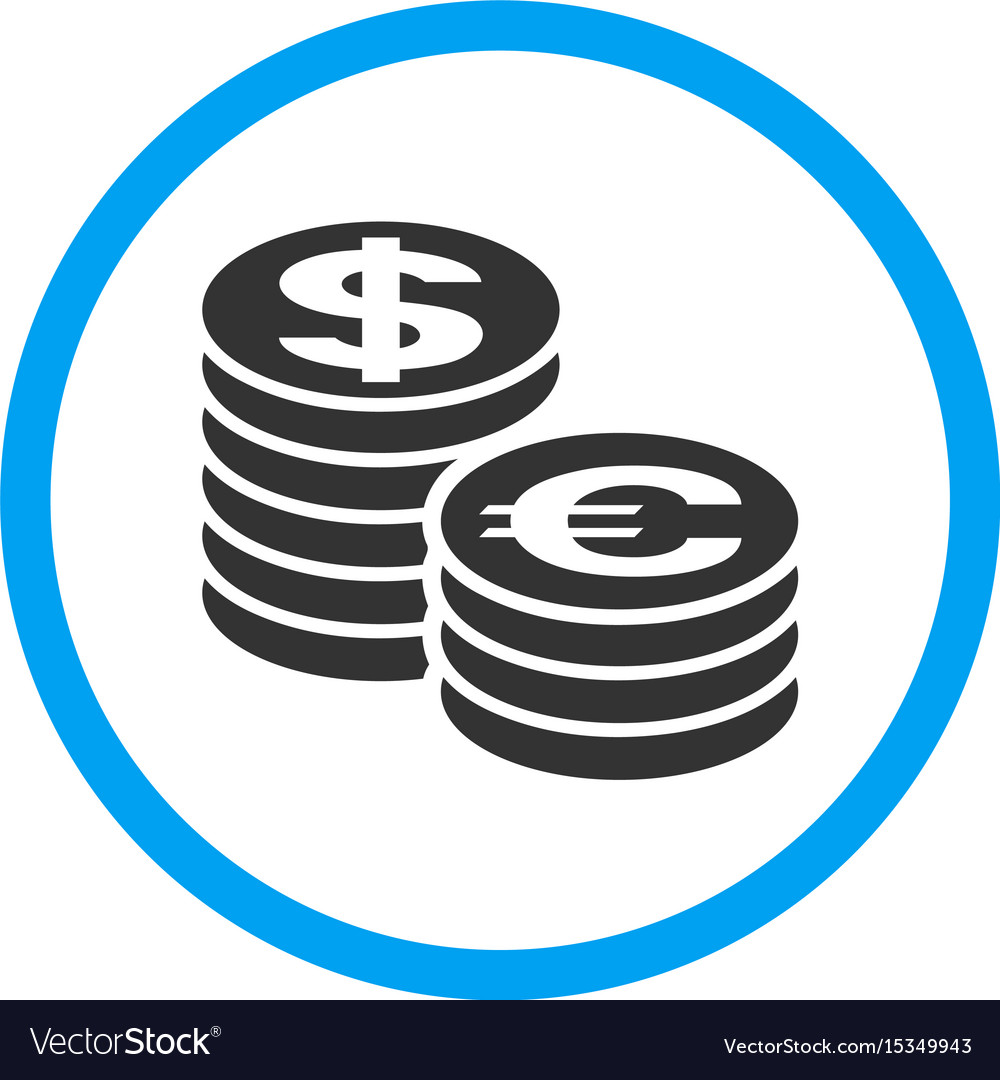 Euro and dollar coin columns rounded icon vector image