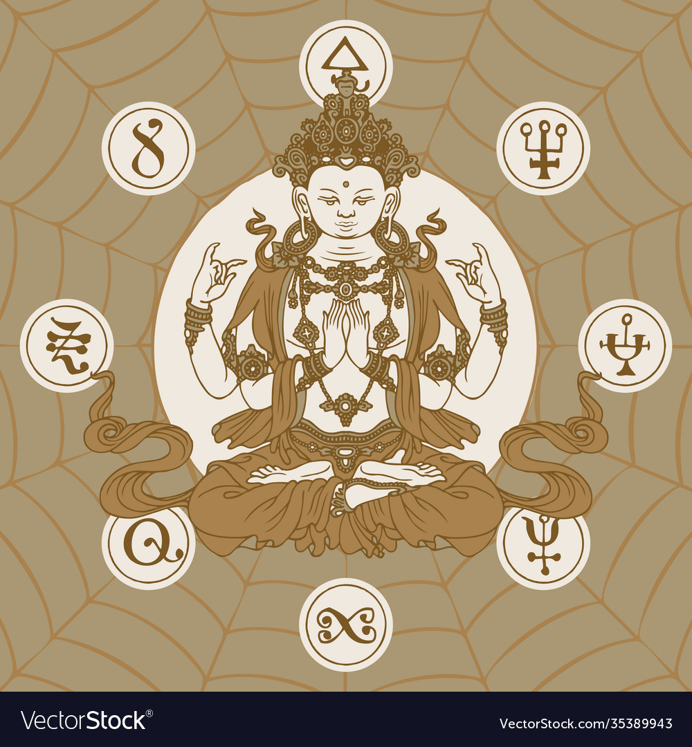 Hand-drawn sitting buddha meditating in lotus pose vector