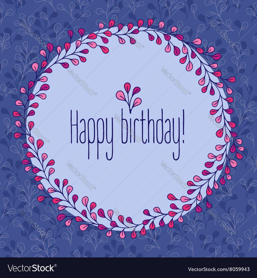 Happy Birthday greeting card floral wreath