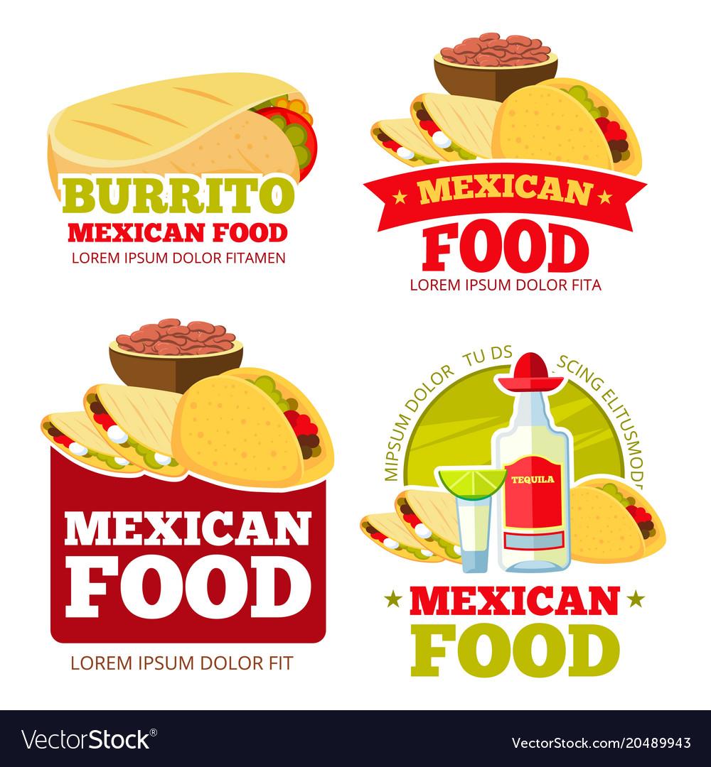 Mexican food restaurant badges labels