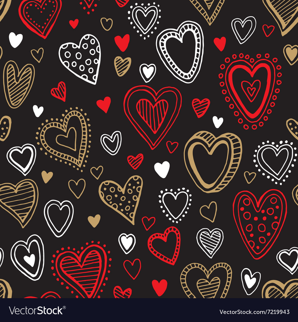 Seamless love red and gold heart background