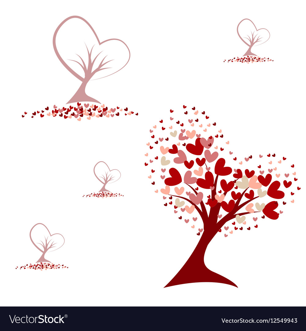 Tree with red hearts seamless pattern