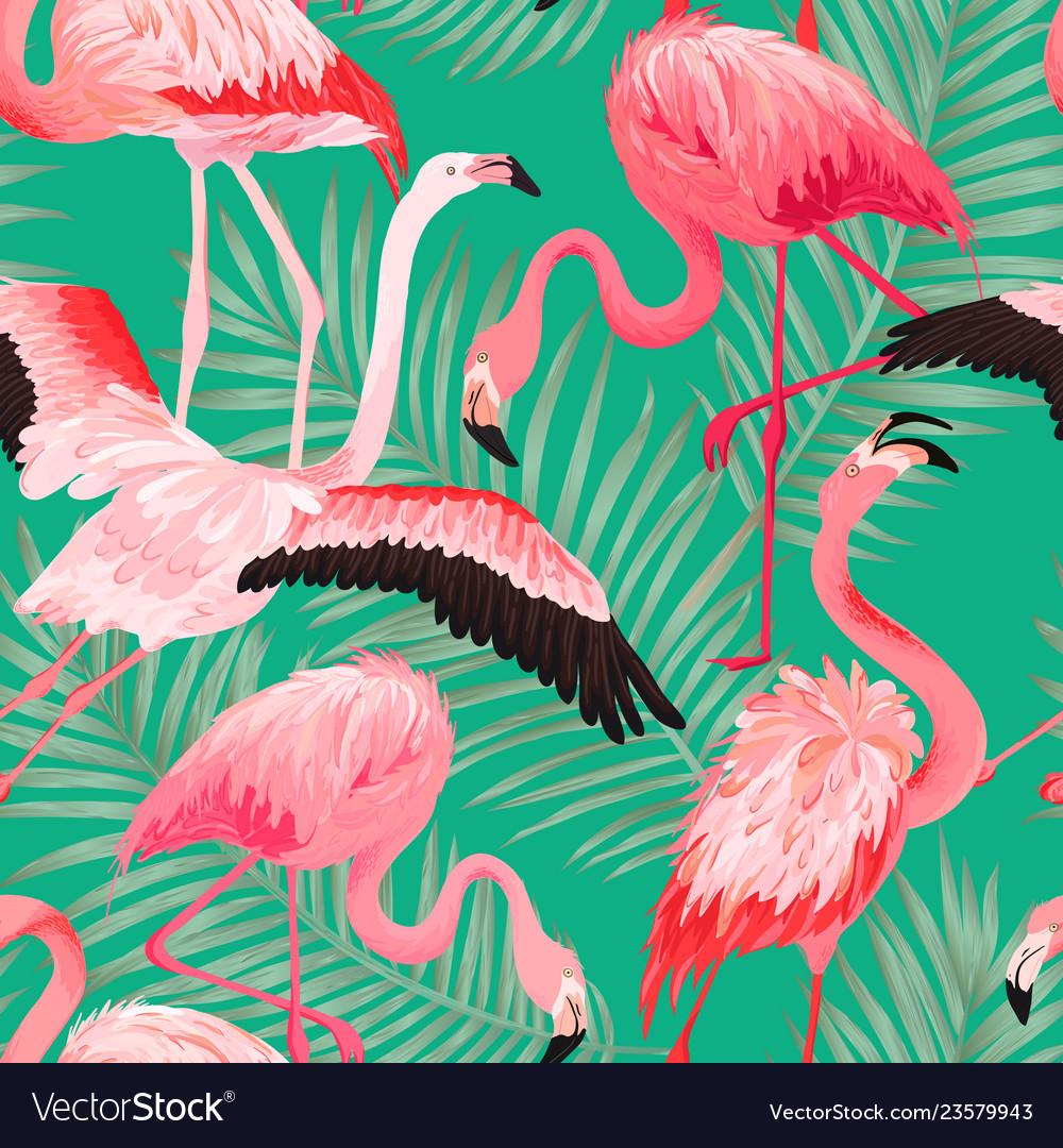 Tropical flamingo bird seamless summer pattern