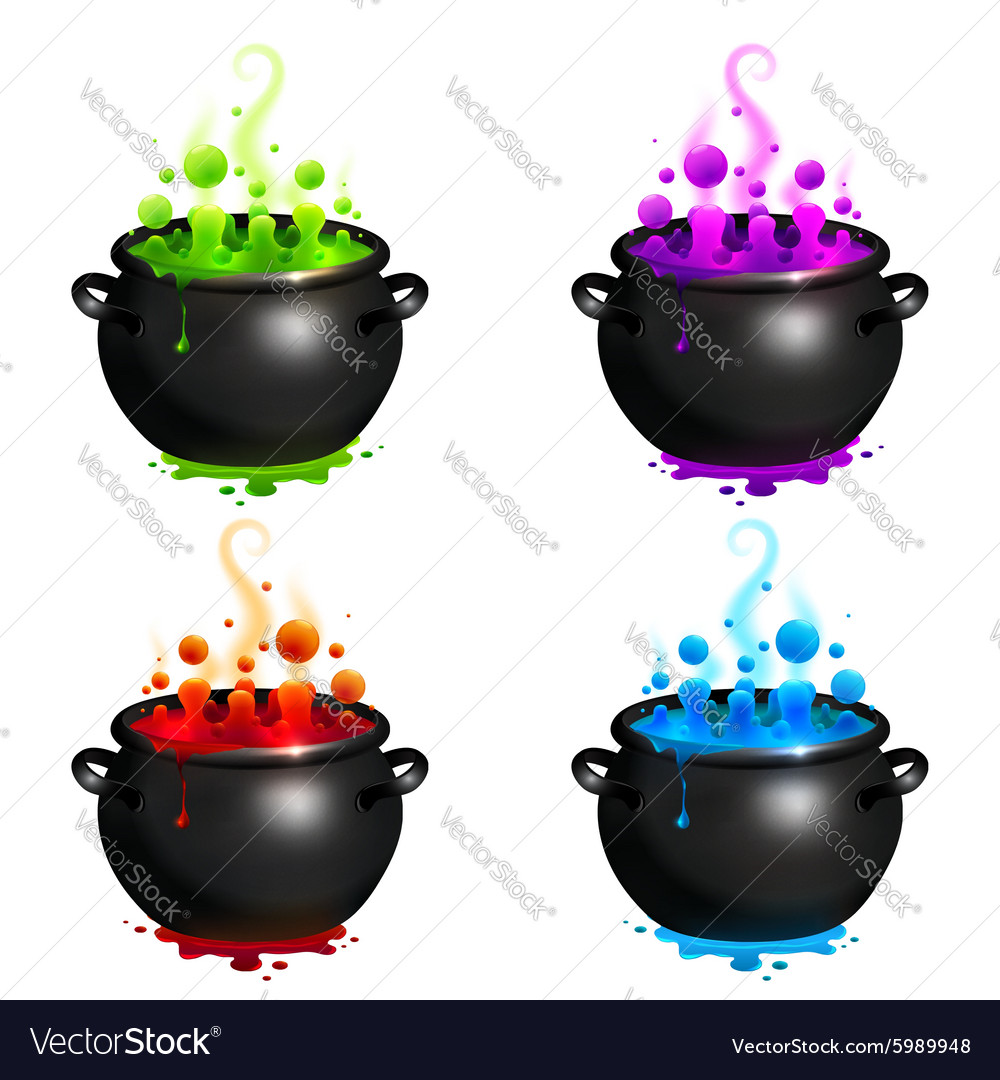Black cauldrons set with colorful witches