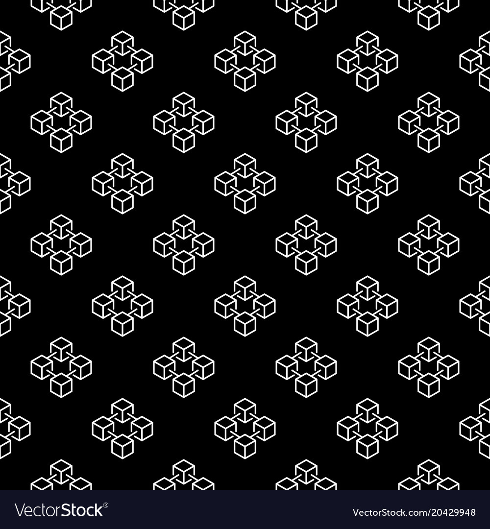 Blockchain cubes outline seamless pattern