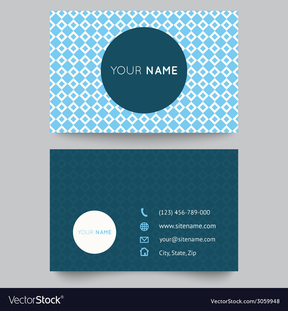 Business card template blue and white pattern
