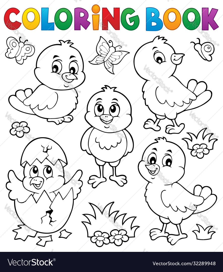 Coloring book cute chickens topic set 1