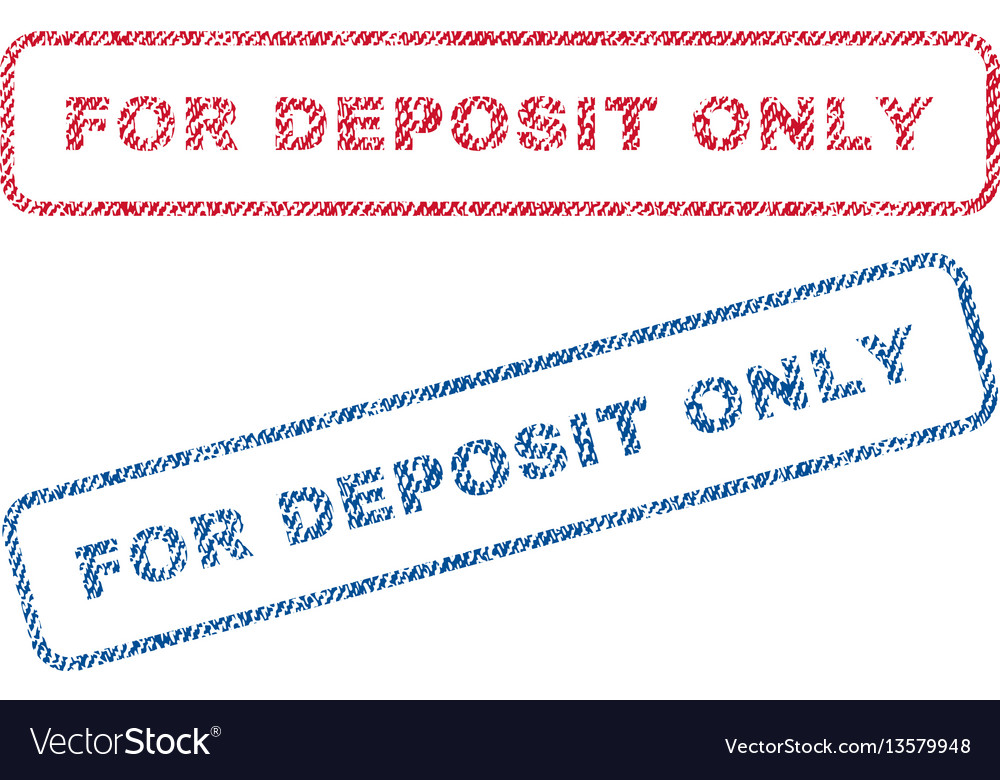 For Deposit Only Textile Stamps Vector Image