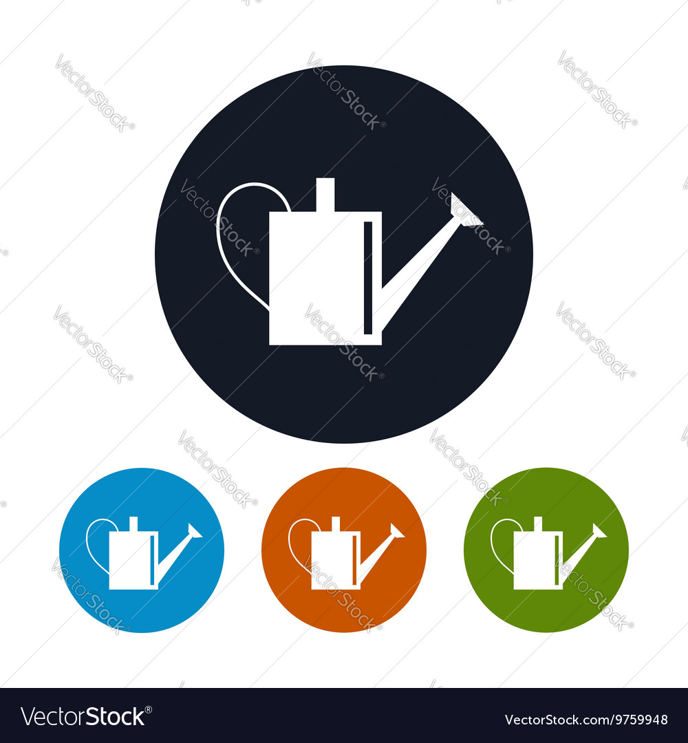 Four Types of Round Icons Watering Can vector image