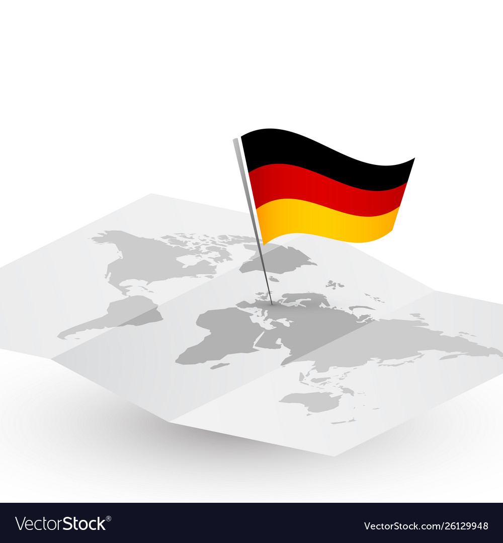 Germany flag on abstract world map
