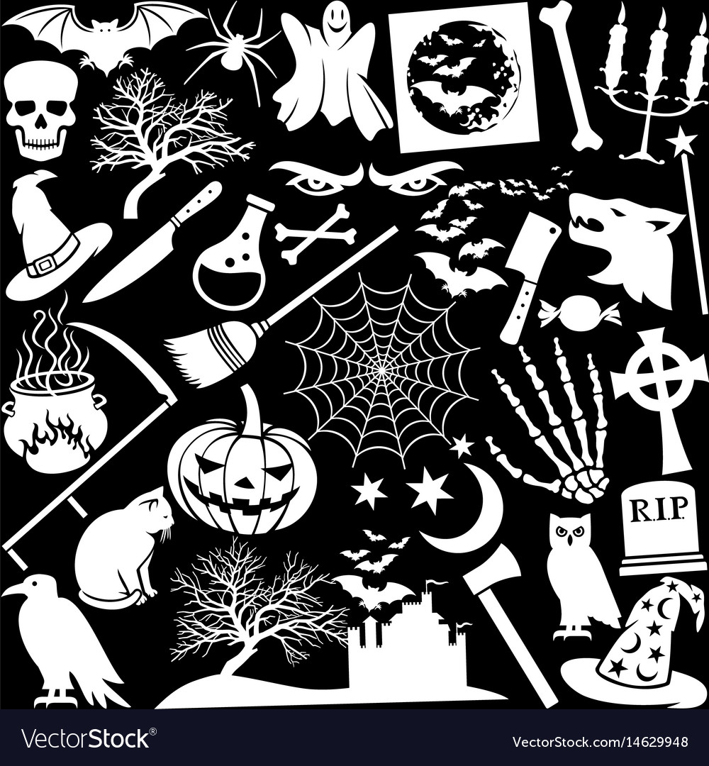 Halloween icons seamless pattern or background