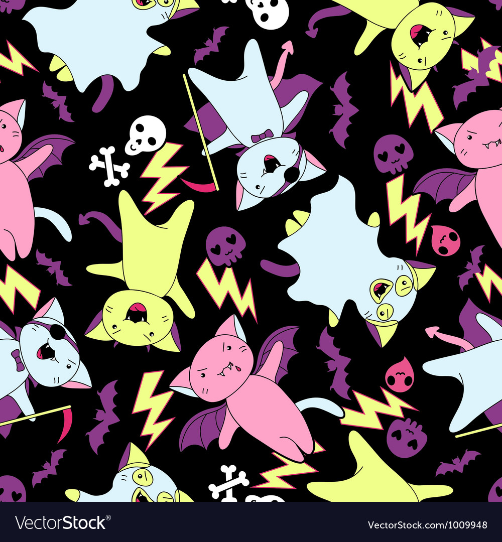 Kawaii pattern of Halloween cats and creatures vector image