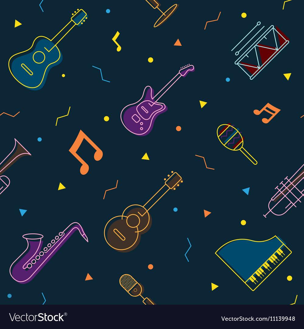 Music Instruments Objects Seamless Pattern