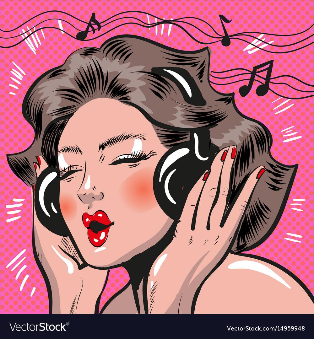 Pop art of woman listening to