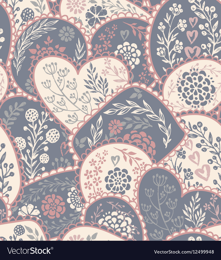 Seamless pattern in retro style with hand