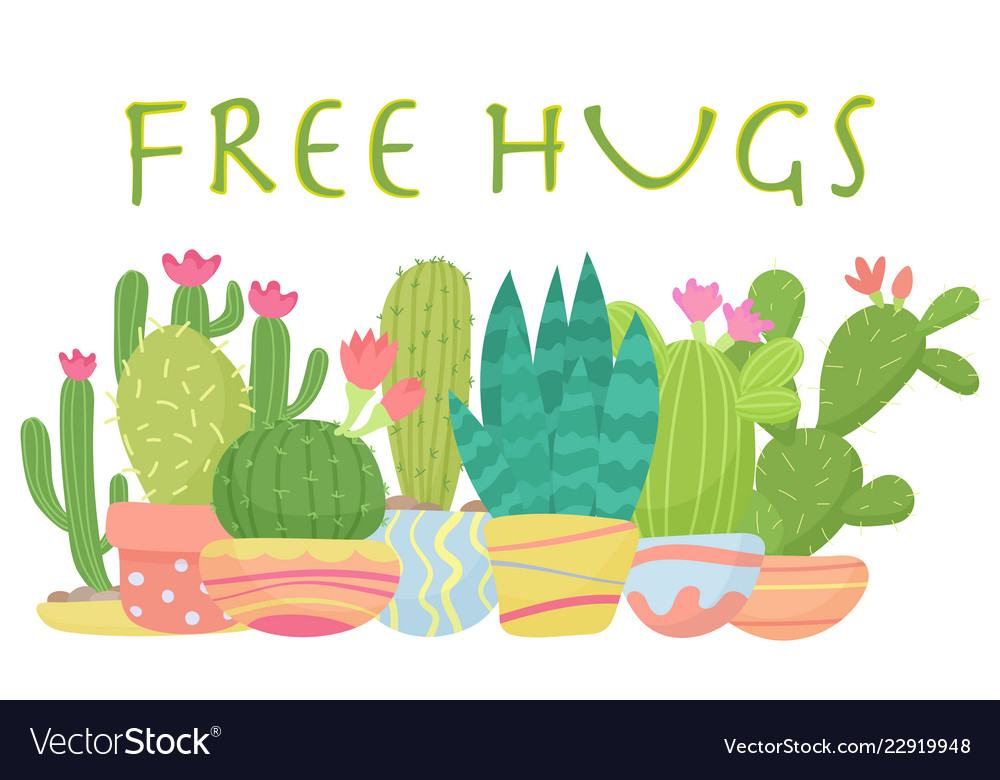 Set of cactus with free hugs lettering