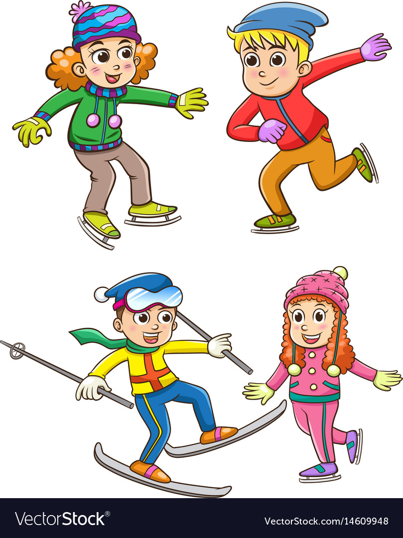 Set of children playing in the winter