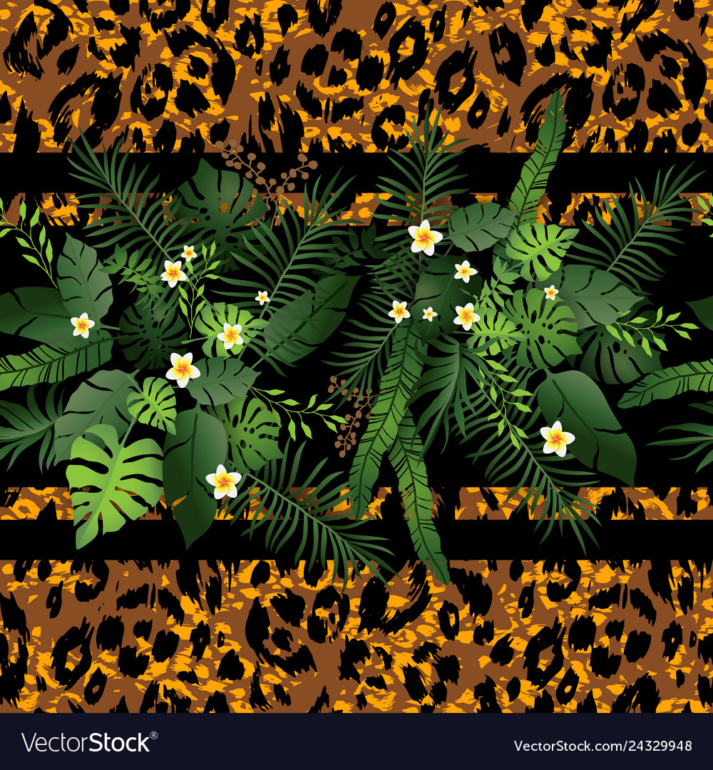 Tropical flowers and animal border