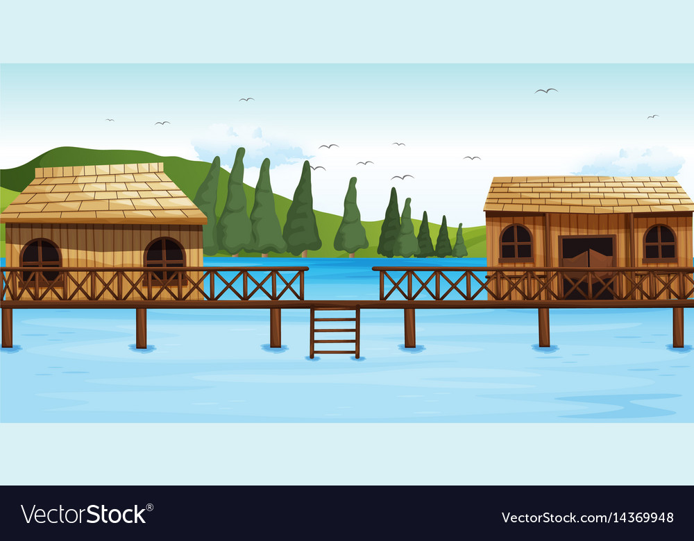 Two wooden bungalow on water