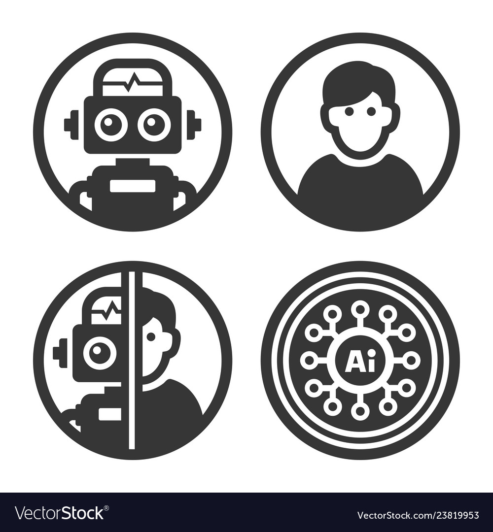 Artificial intelligence ai icons set on white