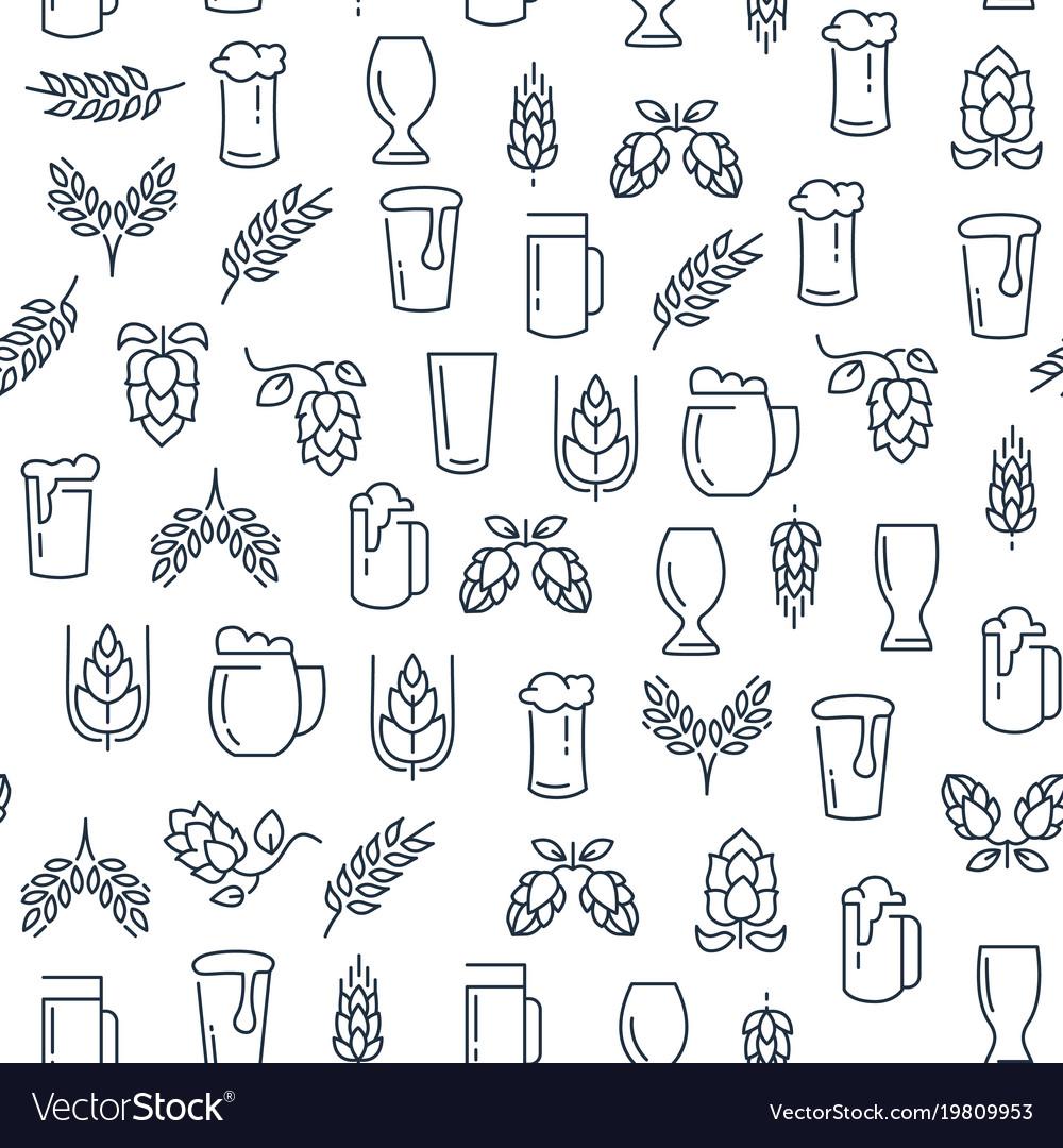 Brewing monochrome seamless pattern
