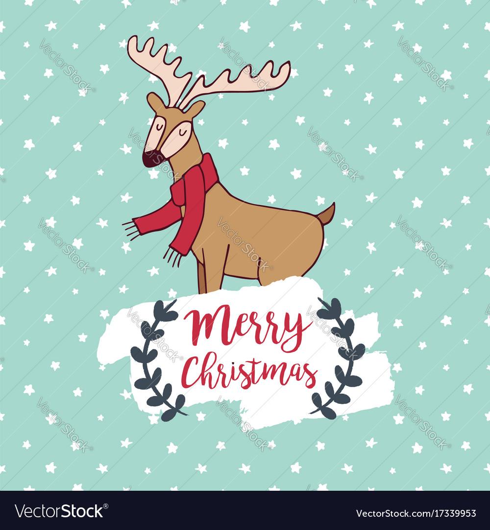 Christmas cute winter deer doodle greeting card vector image m4hsunfo