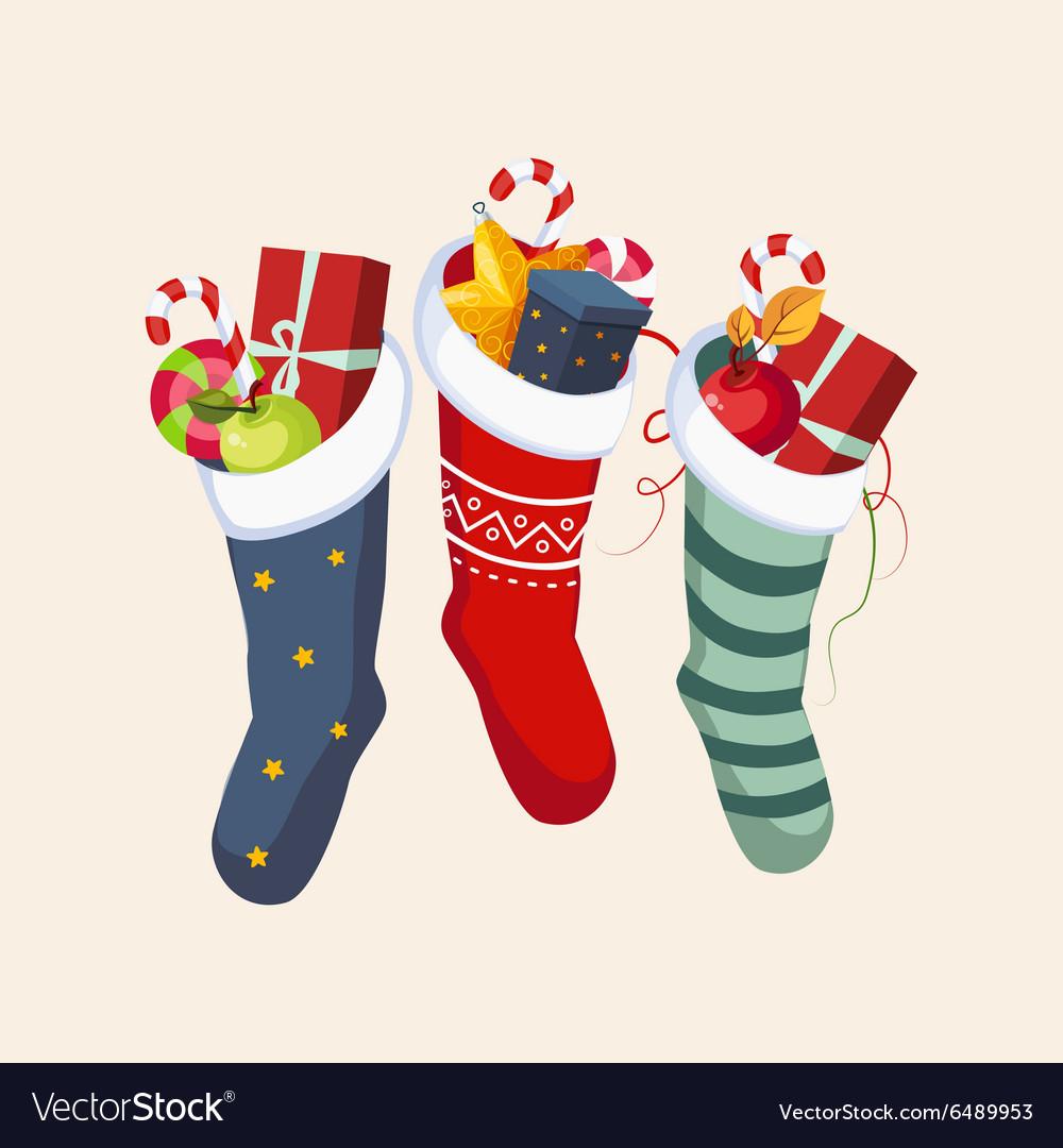 Christmas Socks with Presents vector image