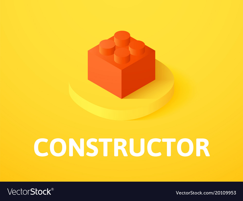 Constructor isometric icon isolated on color