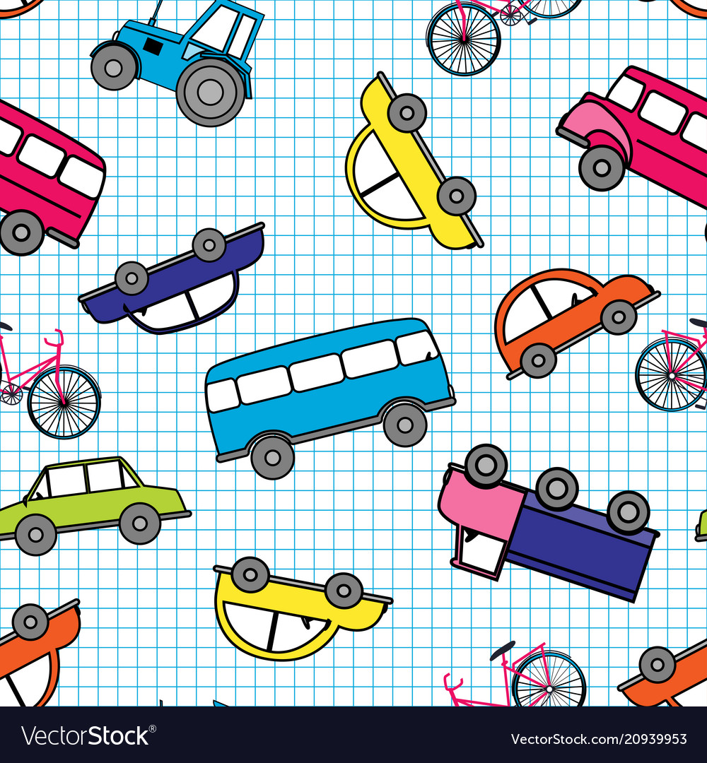 Cute hand drawn kids toy transport baby bright