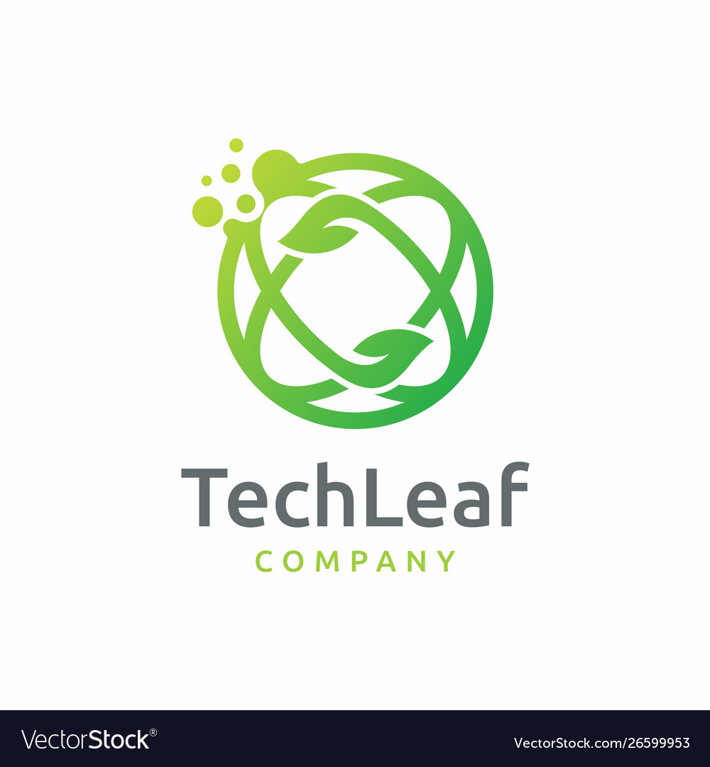 Dot tech leaf logo design