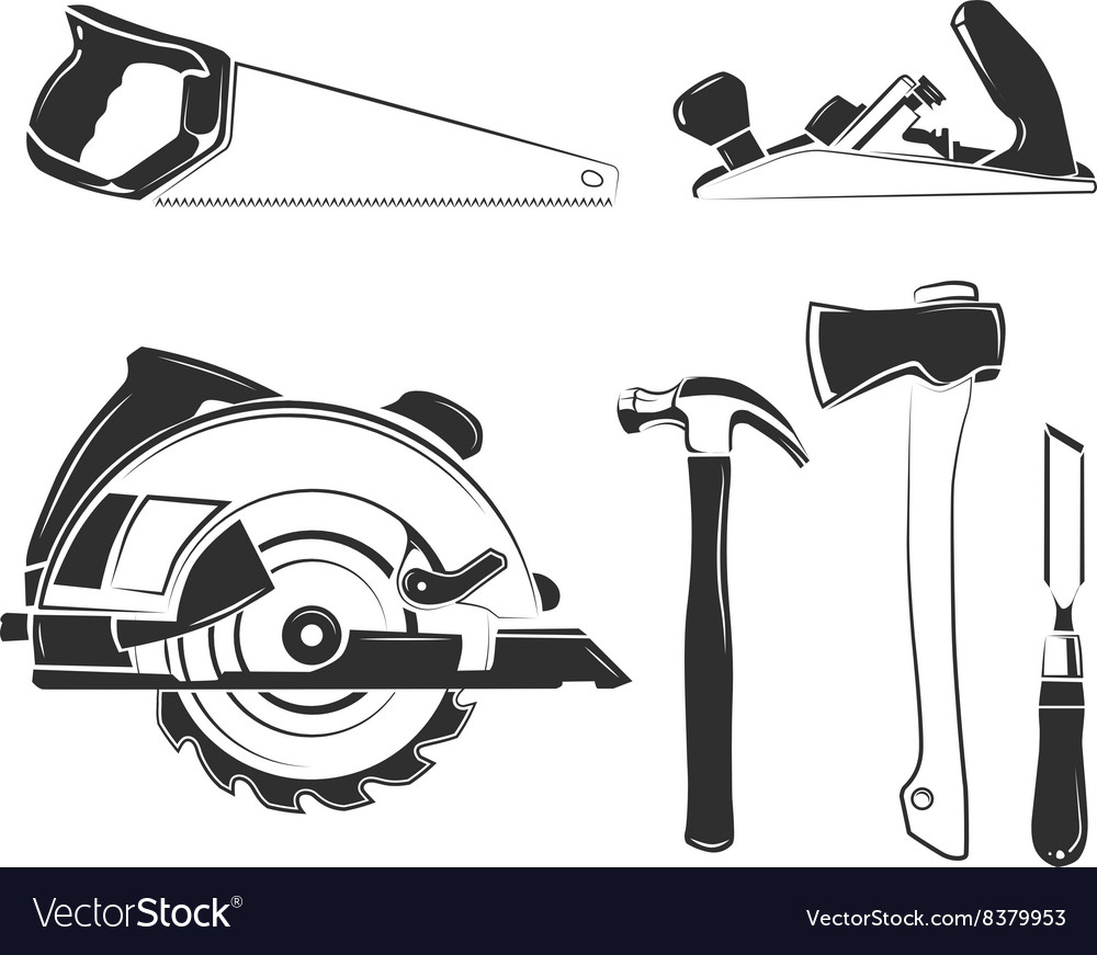 Elements for carpentry labels logos vector image