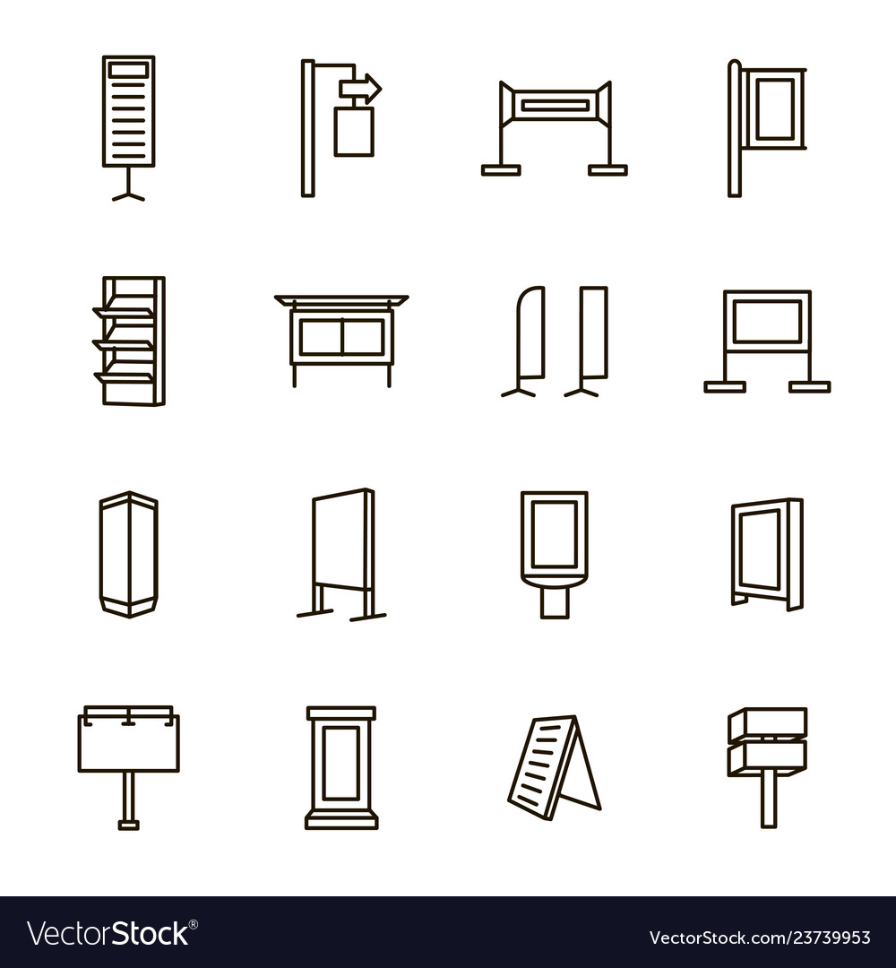 Exhibition stand signs black thin line icon set