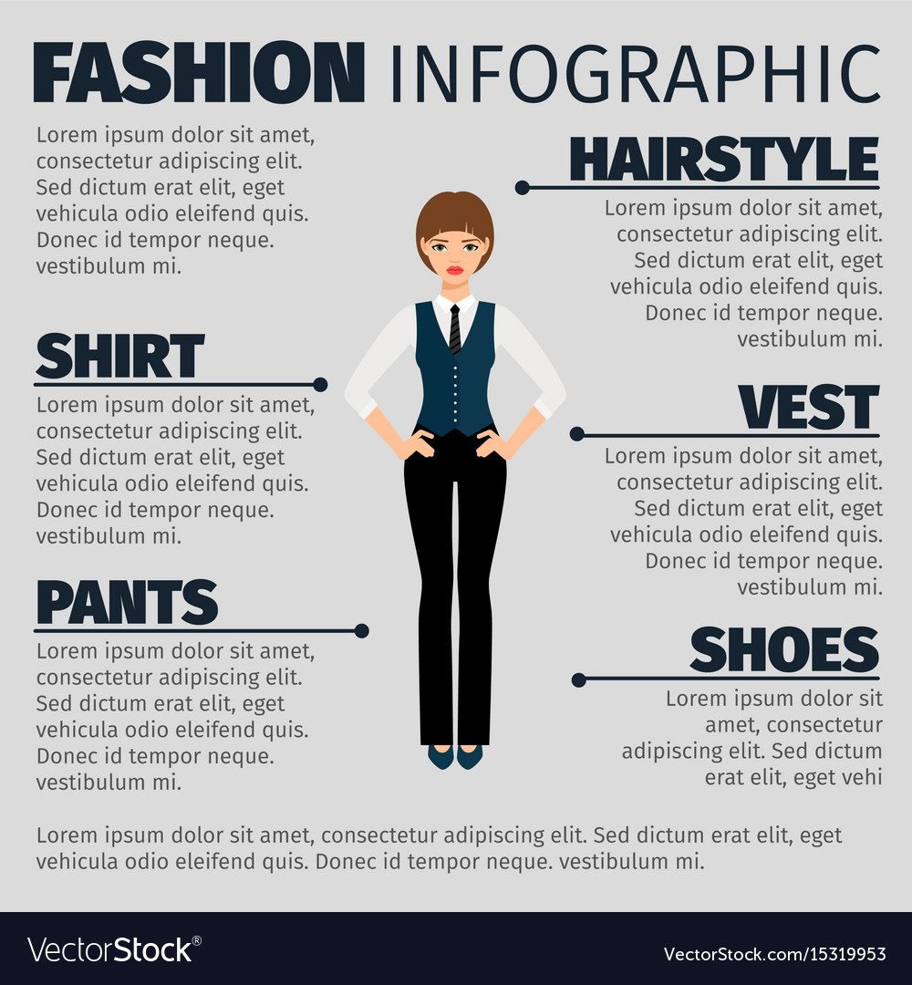 Fashion infographic with girl manager vector image