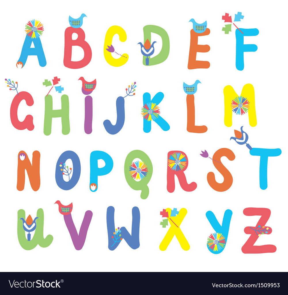 Funny alphabet for kids with flowers